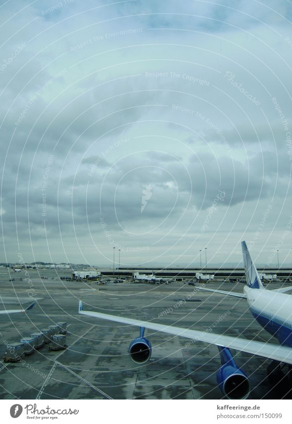 SFO International Airport San Francisco Kalifornien USA Flugzeug Himmel Wolken grau blau kalt Rollfeld Flughafen Gate