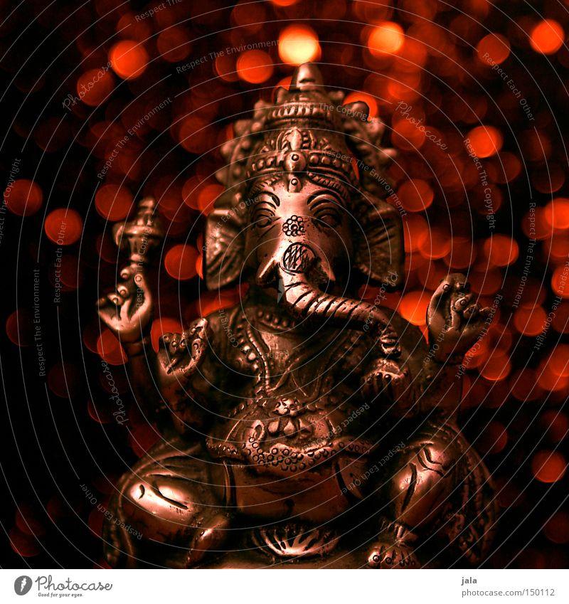 lord ganesh rot dunkel Religion & Glaube Kunst glänzend sitzen Indien silber Figur Silber Gott Elefant Weisheit Götter Lichtpunkt Rüssel