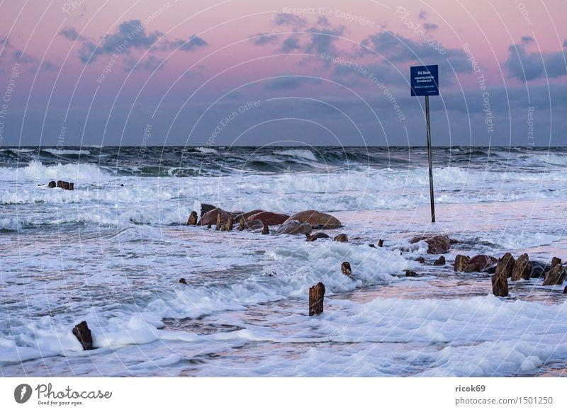 Buhne an der Küste der Ostsee Erholung Ferien & Urlaub & Reisen Strand Meer Wellen Natur Landschaft Wasser Sturm Felsen Stein Holz Hinweisschild Warnschild