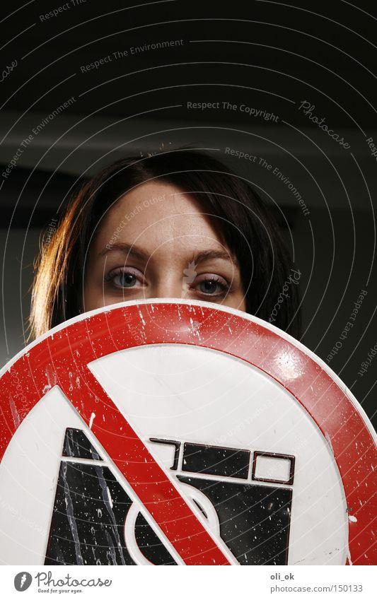 Fotoverbot Auge geheimnisvoll Hinweisschild verstecken anonym Charakter Privatsphäre