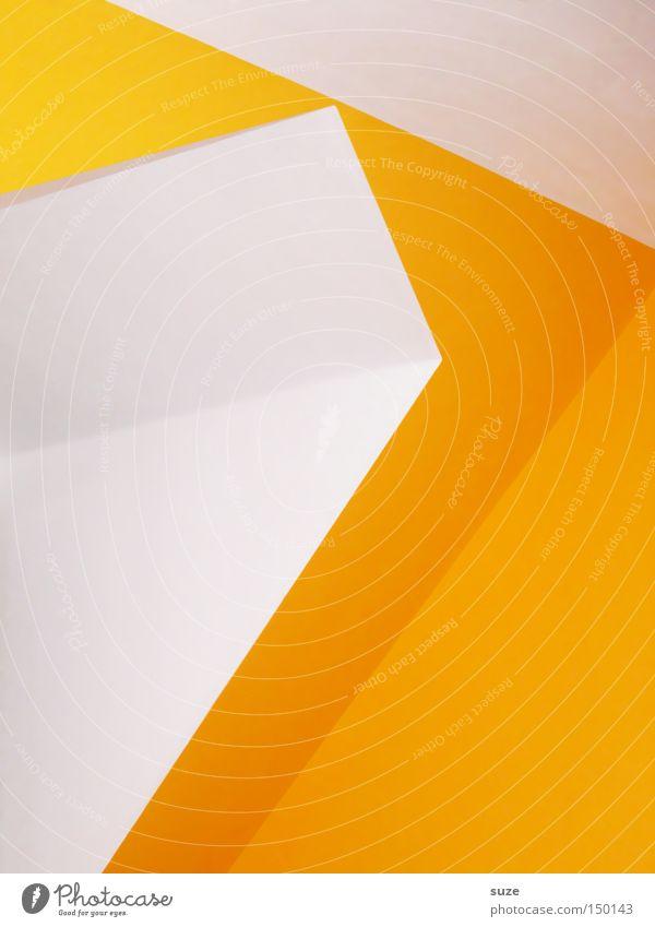 Gelbe Seiten Stil Design Kunst Linie eckig einfach modern gelb weiß Farbe Wand Dachgaube gestrichen Klarheit graphisch Strukturen & Formen Genauigkeit
