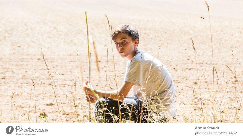 Porträt - Feld - Sommer Lifestyle schön Sinnesorgane Erholung ruhig Mensch maskulin Junger Mann Jugendliche 1 13-18 Jahre Umwelt Natur Erde Klima sitzen