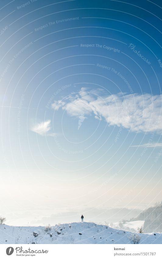 Aussichtspunkt Mensch Himmel Natur blau schön weiß Sonne Landschaft Einsamkeit Wolken Ferne Winter Umwelt Schnee Freiheit Stimmung