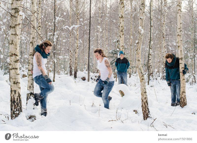 Spending my time with trees (V) Mensch Frau Natur Winter Wald Erwachsene Leben Traurigkeit Schnee feminin Stil Spielen Lifestyle Freiheit Eis Freizeit & Hobby