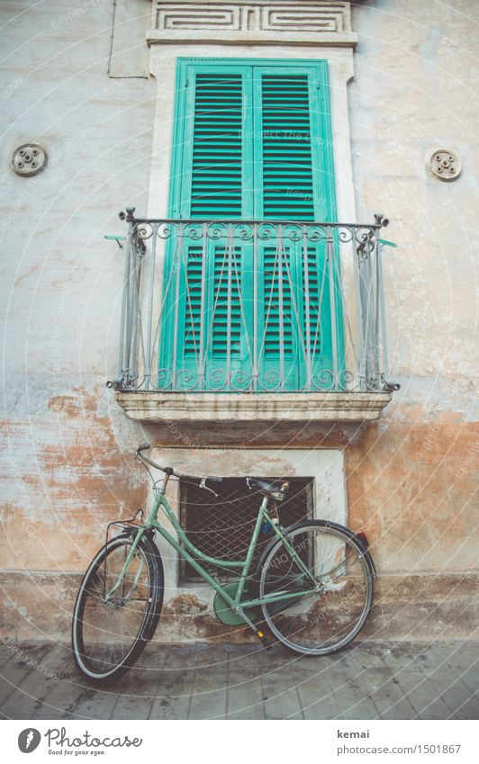 Trendfarbe Grün alt grün ruhig Haus Fenster Wege & Pfade Fassade Verkehr Fahrrad retro Italien Balkon trendy Stadtzentrum Altstadt Kleinstadt