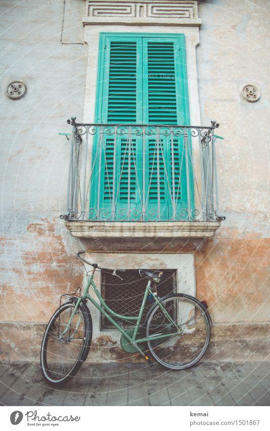 Trendfarbe Grün Monopoli Apulien Italien Kleinstadt Stadtzentrum Altstadt Menschenleer Haus Fassade Balkon Fenster Verkehr Wege & Pfade Fahrrad alt trendy retro