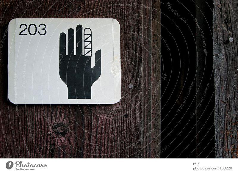 advent, advent - finger verbrennt Hand Unfall Finger Verband Schilder & Markierungen Tür Holz Symbole & Metaphern Zeichen Hinweisschild Strukturen & Formen