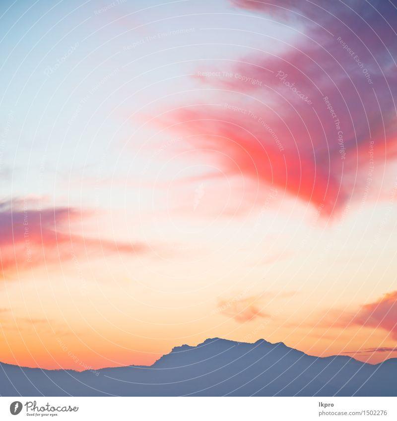 in Marokko Afrika Lans und roten Sonnenaufgang Himmel Natur Ferien & Urlaub & Reisen blau schön Farbe Sommer Landschaft Wolken Winter dunkel Berge u. Gebirge
