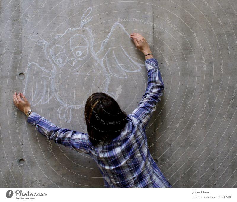 Je t'embrasse! Mensch Frau Jugendliche Junge Frau Freude 18-30 Jahre Erwachsene Wand lustig Spielen Haare & Frisuren grau Kunst Rücken Fröhlichkeit Beton