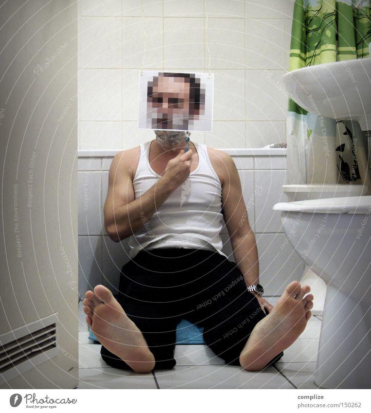 Gesichts-Update Mann Traurigkeit Erwachsene neu Wachstum Bad T-Shirt Sauberkeit Toilette Medien Müdigkeit Bart Langeweile anonym Erschöpfung Problematik