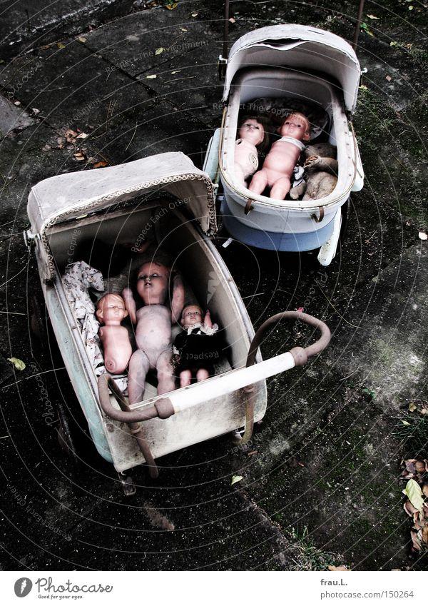 Puppen ausfahren gehen alt Kindheit kaputt Trauer Ende Verzweiflung Zerstörung Puppe Spielzeug Teddybär Missbrauch vernachlässigen Stofftiere