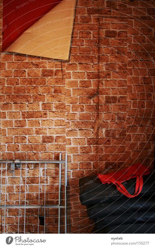 Alles Attrappe Detailaufnahme Muster Erholung Tapete Stein Backstein alt retro rot Verfall Vergänglichkeit verbinden Kammer verfallen ziegelmuster kleister