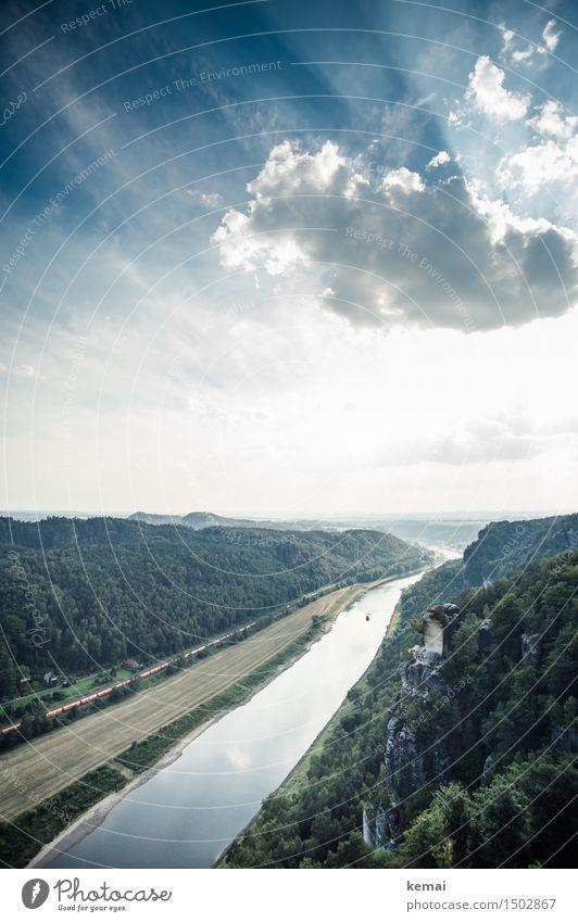 Silbernes Band II Abenteuer Ferne Freiheit Umwelt Natur Landschaft Himmel Wolken Sonnenlicht Sommer Schönes Wetter Wärme Wald Hügel Felsen Berge u. Gebirge