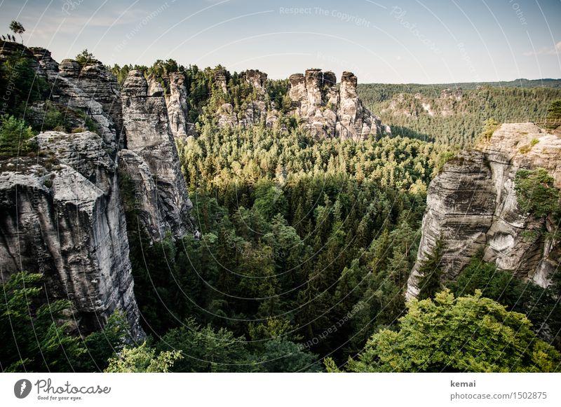 Felsenland Tourismus Ausflug Abenteuer Ferne Freiheit Umwelt Landschaft Pflanze Himmel Wolken Sonnenlicht Sommer Schönes Wetter Baum Wald Hügel Berge u. Gebirge