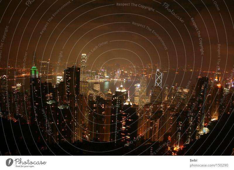 Hong Kong Skyline Hongkong Hochhaus Nebel Stadtlicht Peak