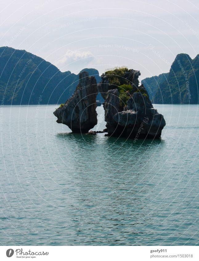 HALONG BAY (Vietnam) Himmel Natur Ferien & Urlaub & Reisen blau grün Sommer Wasser Sonne Meer Landschaft Ferne Frühling Küste grau Freiheit Schwimmen & Baden