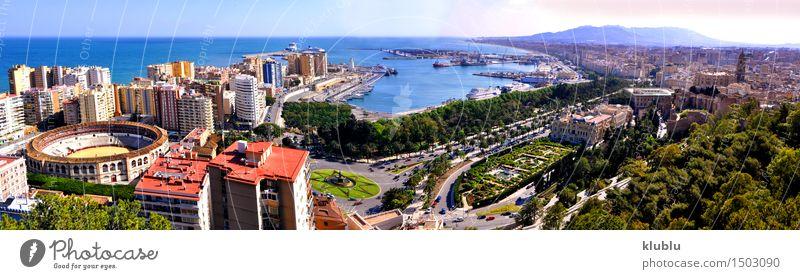 Panoramablick von Màlaga-Stadt, Spanien Ferien & Urlaub & Reisen Tourismus Sommer Sonne Strand Meer Landschaft Wolken Küste Hafen Gebäude Architektur Straße