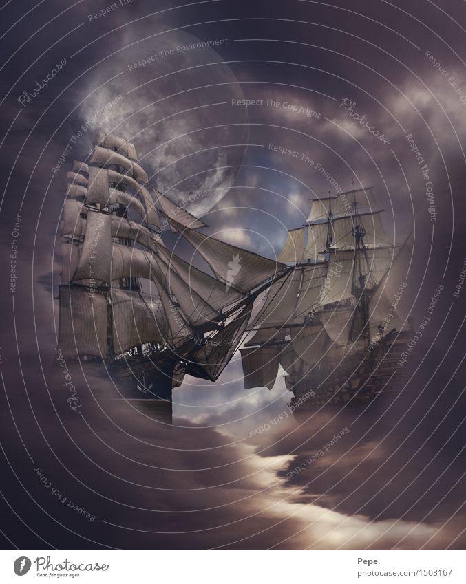 Himmelsschlacht Mond Meer Schifffahrt Kreuzfahrt Bootsfahrt Segelboot Segelschiff dunkel Composing Nebel Gedeckte Farben abstrakt
