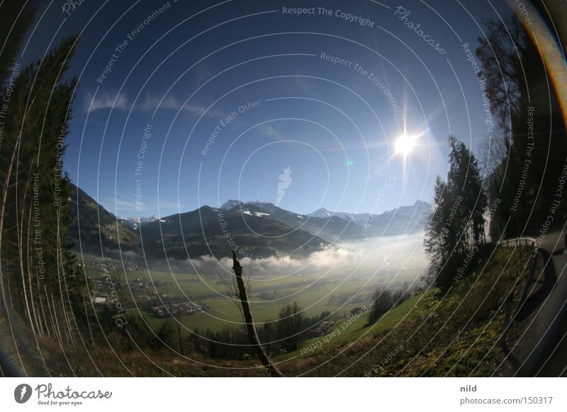 Nebensaison Bundesland Tirol Zillertal Bodennebel Schönes Wetter Fischauge Panorama (Aussicht) Gegenlicht ruhig Ferien & Urlaub & Reisen Ausflug