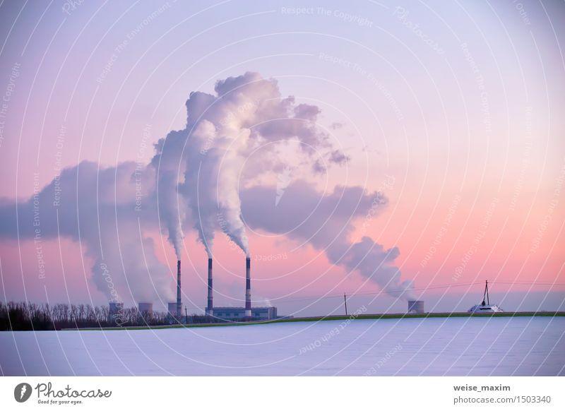 Kraftwerk am Abend Winter Schnee Fabrik Industrie Energiewirtschaft Landschaft Pflanze Himmel Sonnenaufgang Sonnenuntergang Wiese Feld Wald Kleinstadt Stadt