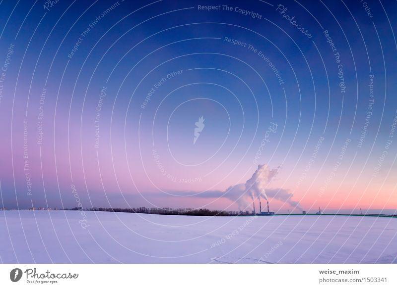 Kraftwerk am Abend Himmel Stadt blau weiß rot Landschaft Winter gelb Wiese Schnee Gebäude Luft Energiewirtschaft Aussicht Europa