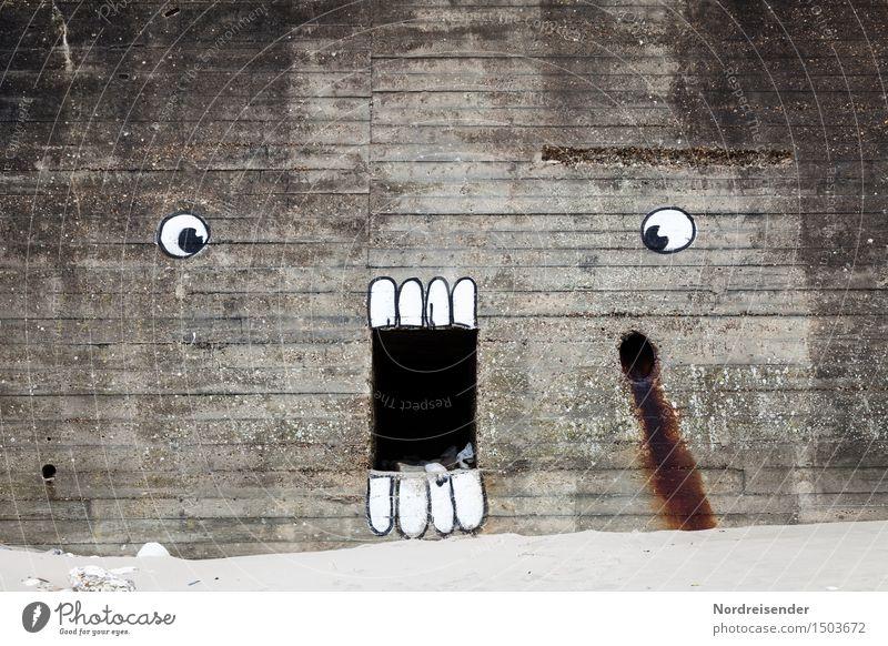 Aufschrei.... Subkultur Ruine Bauwerk Architektur Mauer Wand Beton Zeichen Graffiti schreien Aggression außergewöhnlich bedrohlich dunkel grau Schmerz bizarr