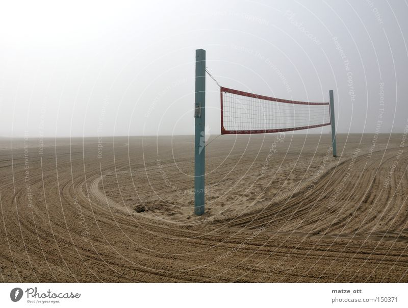 fog on the beach Strand Wolken Sport Spielen Sand Küste Nebel Perspektive Netz Volleyball Los Angeles Volleyballnetz