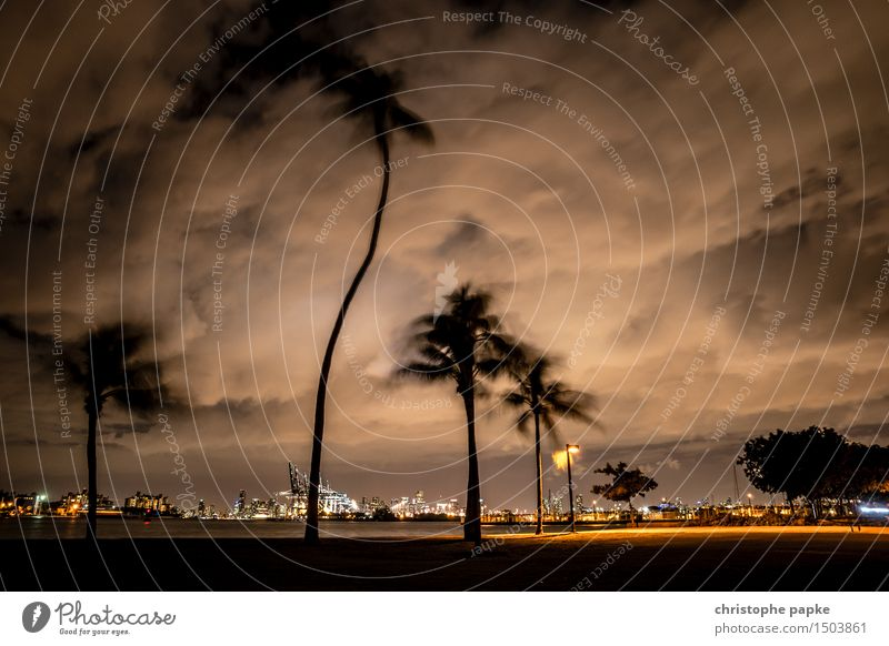 Miami Storm Ferien & Urlaub & Reisen Tourismus Ferne Städtereise Sommerurlaub Himmel Wolken Gewitterwolken Nachthimmel schlechtes Wetter Unwetter Wind Sturm