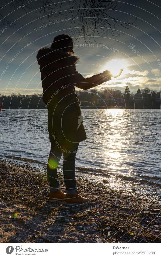 Sonnenkind elegant Stil Ferien & Urlaub & Reisen Ausflug Freiheit Mensch feminin Junge Frau Jugendliche Körper 1 Umwelt Landschaft Wasser Himmel Sonnenaufgang
