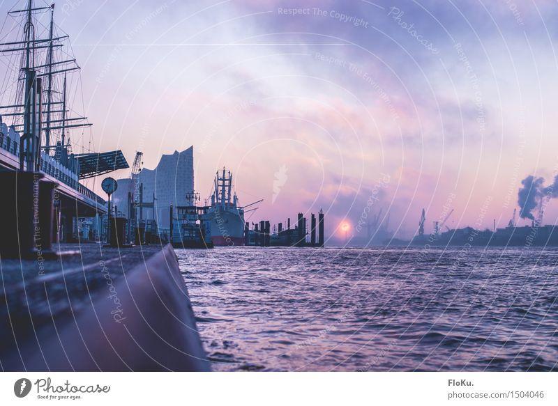 Pastelbe Himmel Stadt blau Wasser Winter kalt Stimmung rosa Tourismus Nebel Verkehr Hamburg Fluss violett Hafen Wahrzeichen