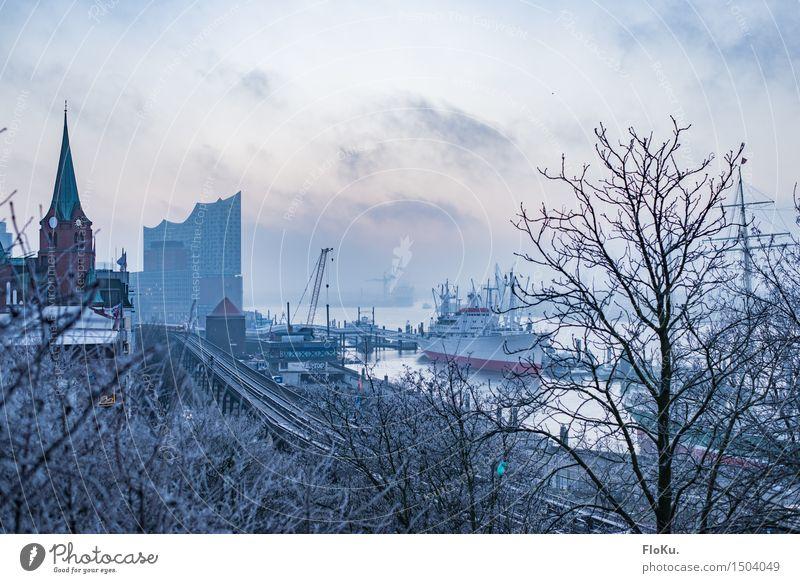 Elbe im Winter Stadt blau kalt Stimmung Nebel Eis Hamburg Fluss Frost Bauwerk Hafen Skyline Wahrzeichen Stadtzentrum Sehenswürdigkeit