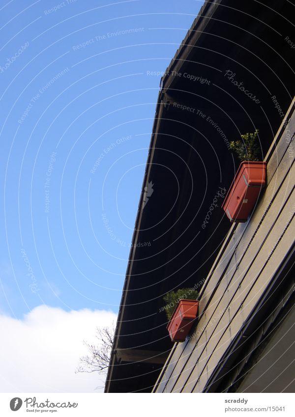 Landhaus Himmel weiß blau rot Haus Wolken braun Architektur Österreich Landhaus Blumenkasten