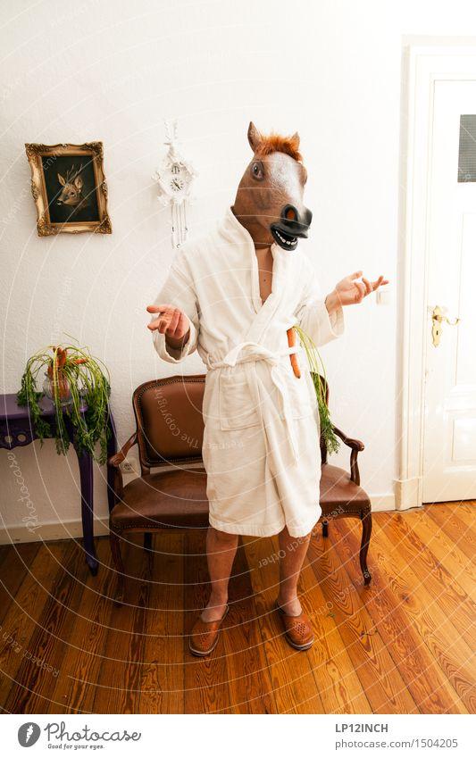 LP.HORSEMAN. XI Häusliches Leben Wohnung Innenarchitektur Karneval Halloween maskulin 1 Mensch Bademantel Pferd Tier sprechen stehen außergewöhnlich gruselig