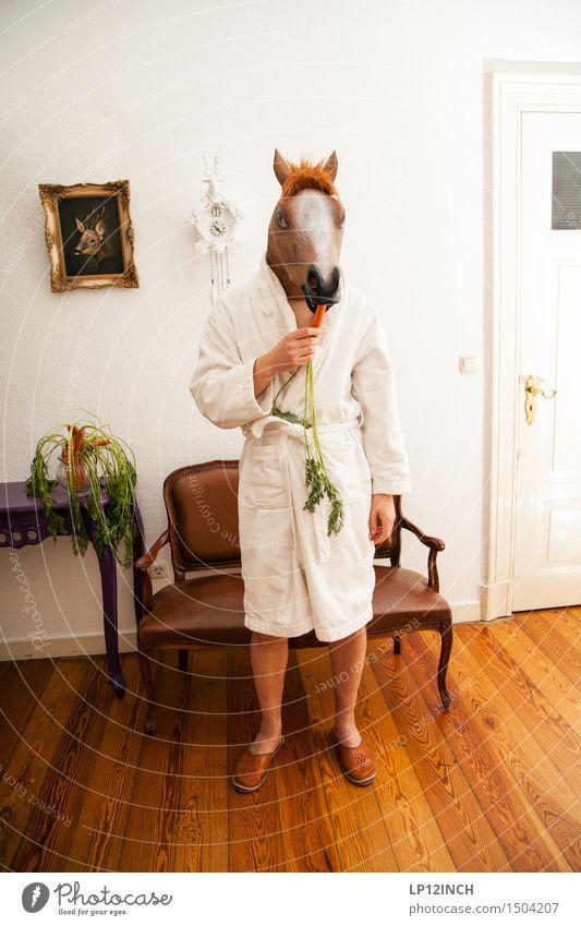 LP.HORSEMAN. VIII Mensch Stadt Tier Essen lustig maskulin Ernährung stehen verrückt retro Pferd Maske Karneval Appetit & Hunger gruselig Surrealismus