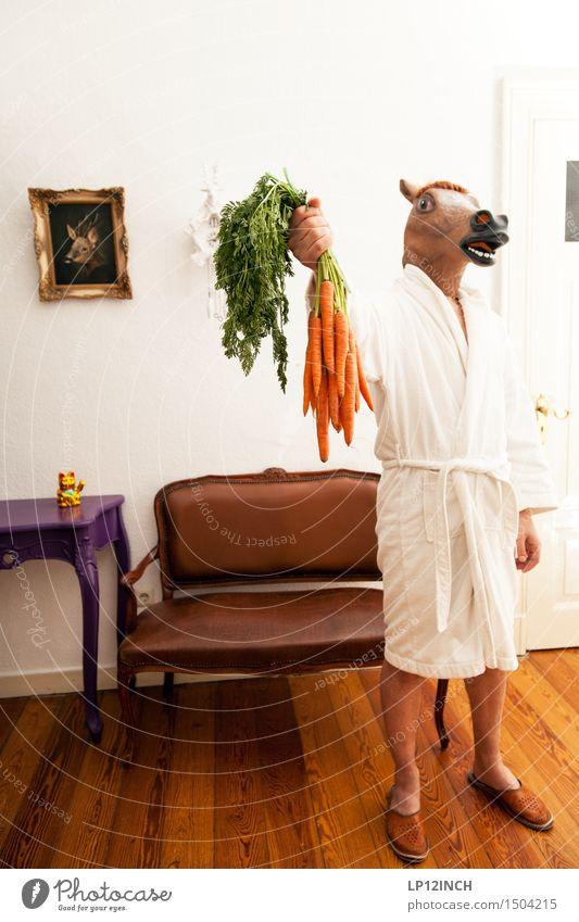 LP.HORSEMAN. X Häusliches Leben Wohnung Innenarchitektur Dekoration & Verzierung Karneval Halloween maskulin 1 Mensch Tier Pferd stehen gruselig retro Stadt