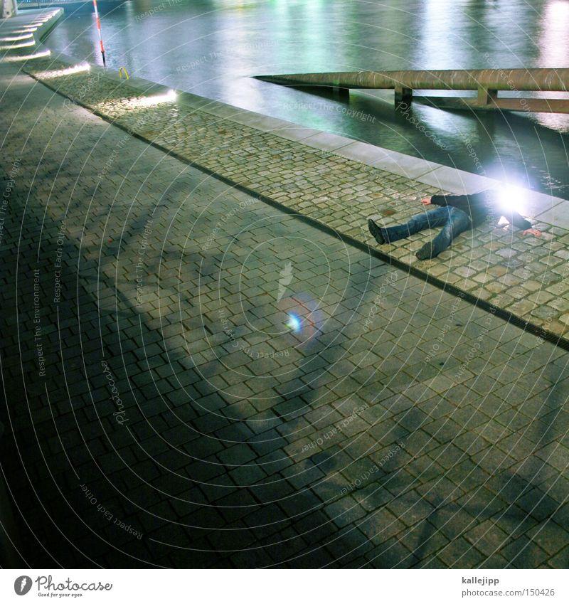 BLN08_erleuchtung Mann Mensch Stern (Symbol) Licht Erkenntnis Wege & Pfade Fluss Wasser Nacht liegen Liege schlafen Beleuchtung Strahlung Reflexion & Spiegelung