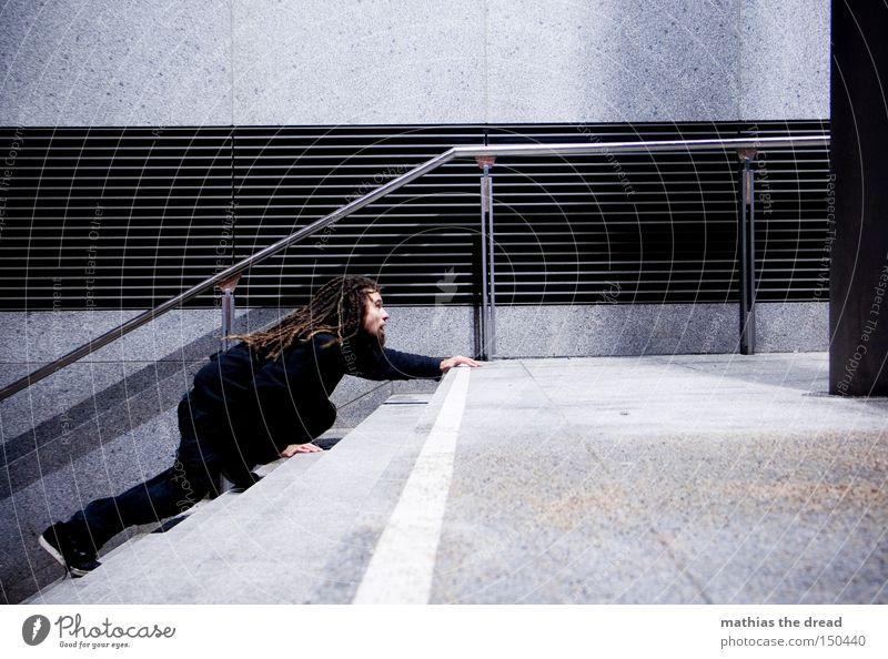 BLN 08 | THE DARK SIDE OF LIFE II Einsamkeit Treppe dunkel schleichen Klettern Mann geheimnisvoll Beton Stadt Nacht schwarz Verkehrswege Winter aufwärts