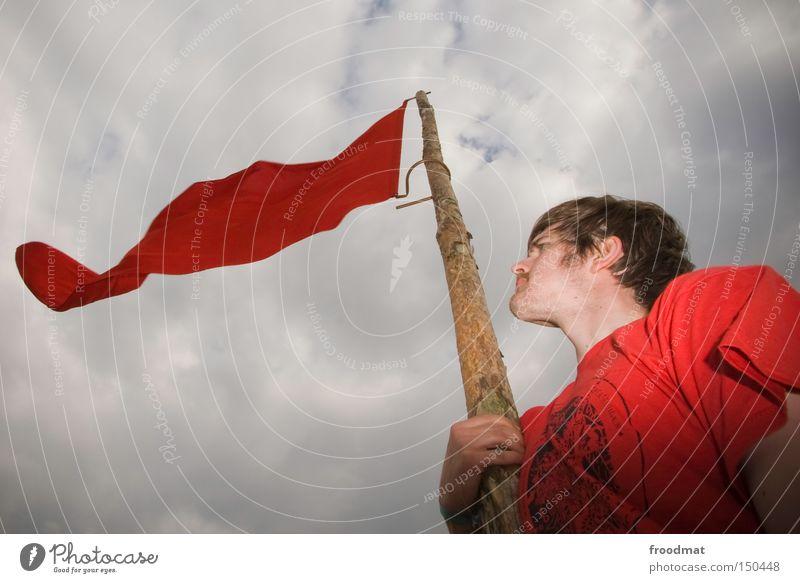 rot rot Mann Himmel Sommer Kraft Fahne Gastronomie Konzentration kämpfen Kapuze Politik & Staat Hongkong Sozialismus Fusion Kommunismus
