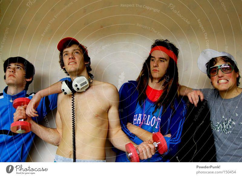 poser die 2. Freude Wand Menschengruppe Sport retro Freizeit & Hobby Musiker Band Mütze Kopfhörer Sonnenbrille Freak alternativ Achtziger Jahre Hantel