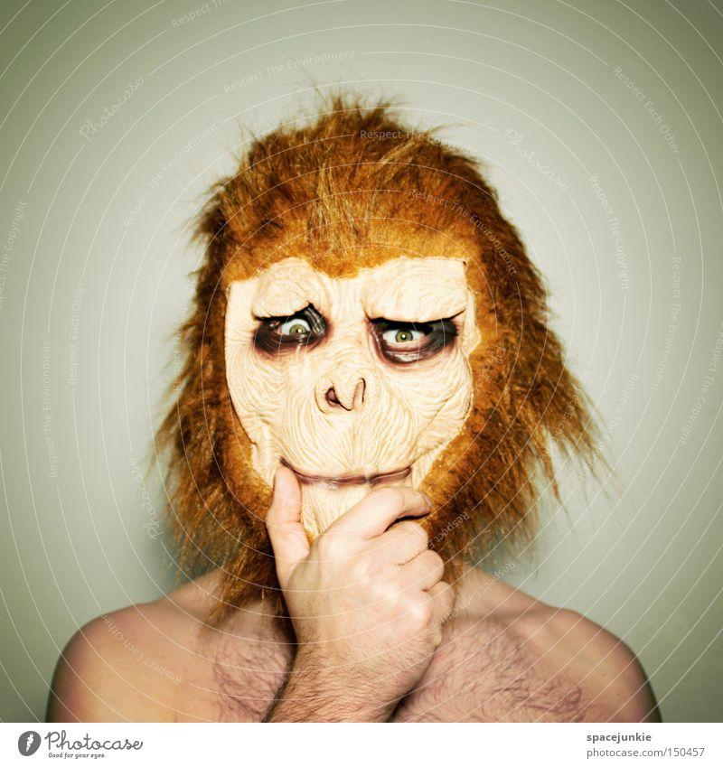 Selbstzweifel Affen Tier verkleiden Maske Denken Zweifel skurril lustig Humor Freude Affengesicht Karneval