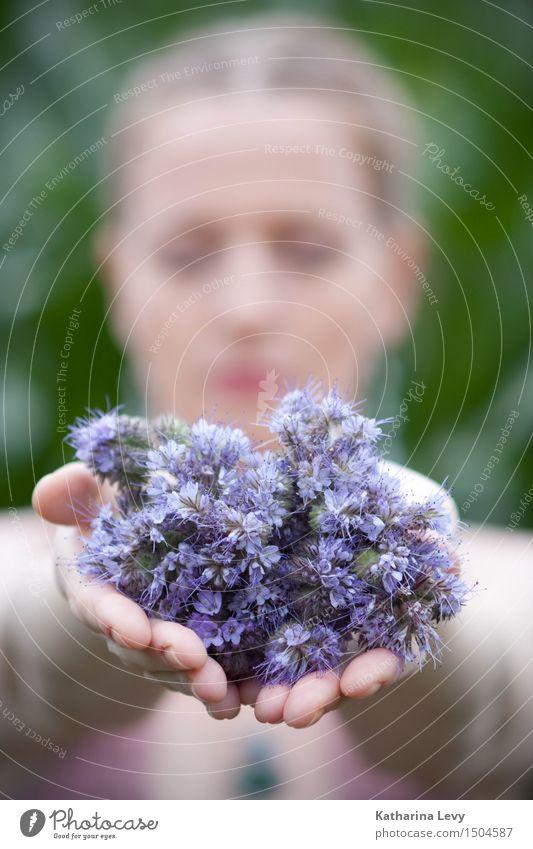 lila Mensch Frau Pflanze grün Sommer Hand Blume Erholung ruhig Erwachsene feminin Garten rosa Feld blond Arme