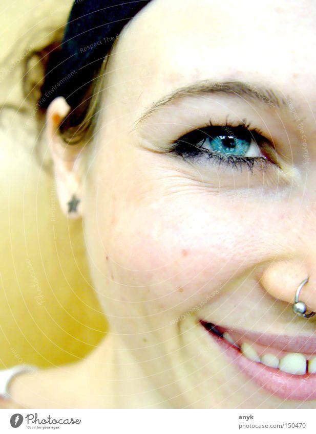 Smile Gesicht Auge Mensch Frau Freude lustig Kopf
