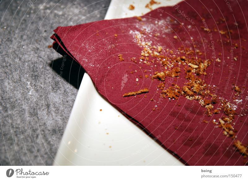 verputzt Vergänglichkeit Süßwaren Kuchen Backwaren Krümel Serviette Filz Puderzucker