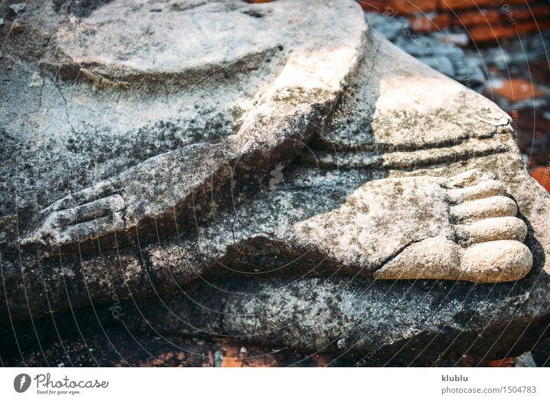 Hand und Fuß von Buddha-Statue in Ayutthaya, Thailand Design Gesicht Meditation Kultur Himmel Wolken Architektur alt Glaube Religion & Glaube antik Asien