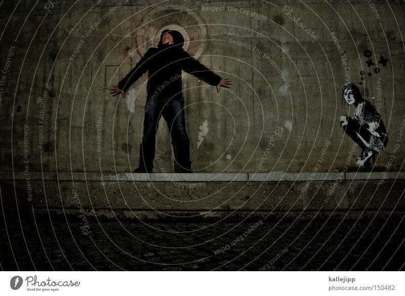 BLN08_ist es die da, die dir den kopf verdreht? Mann Mensch Graffiti Berlin Frau Heiligenschein heilig Beton Mauer stehen sitzen hocken Partner