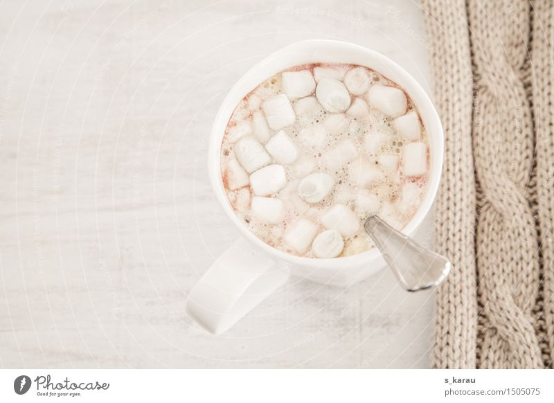 Marshmallow Kakao Lebensmittel Süßwaren Kaffeetrinken Getränk Heißgetränk Milch Tasse heiß hell kuschlig lecker süß Wärme Laster Erholung genießen Winter