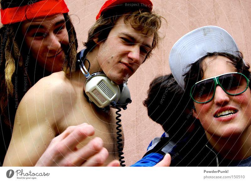 oohh yeah Jugendliche Sommer Freude Wand Stil Menschengruppe retro Musiker Brille Band Mütze Kopfhörer Sonnenbrille Achtziger Jahre