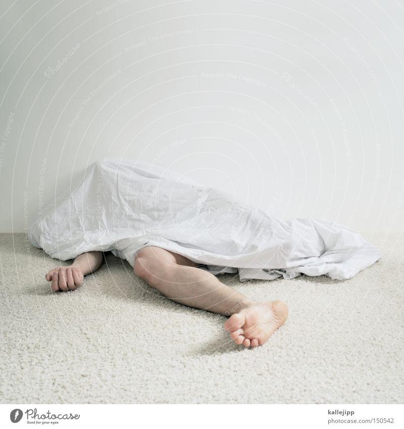 schwarz Mann Mensch Leiche Tod Tatort schlafen nackt liegen träumen weiß hell Beine Arme Armut Körperteile gruselig