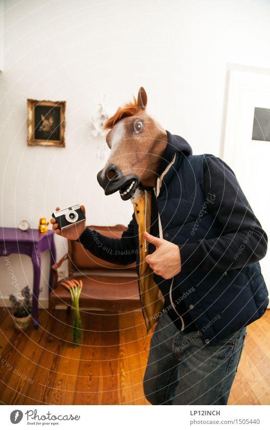 LP.HORSEMAN. XV Häusliches Leben Wohnung Party Karneval Halloween maskulin Mann Erwachsene 1 Mensch Pferd Tier außergewöhnlich frech Freundlichkeit Fröhlichkeit