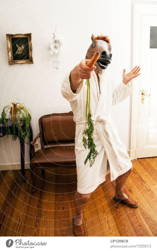 LP.HORSEMAN. IX Häusliches Leben Wohnung Innenarchitektur Karneval Halloween maskulin Mann Erwachsene 1 Mensch Pferd Tier retro verrückt Stadt bizarr skurril